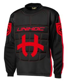 UNIHOC GOALIE SWEATER SHIELD black/neon red