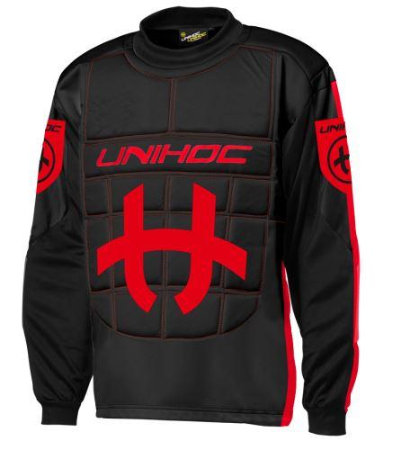 UNIHOC GOALIE SWEATER SHIELD black/neon red