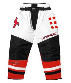 UNIHOC GOALIE PANTS FEATHER white/neon red