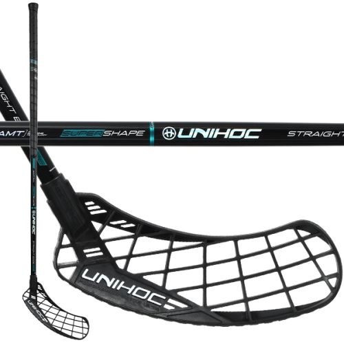 UNIHOC STICK EPIC Straight EDGE 26 black/turq - florbalová hůl